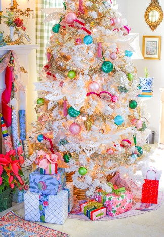 pink and chic Christmas tree in Katherine's living room on her colorful Christmas home tour