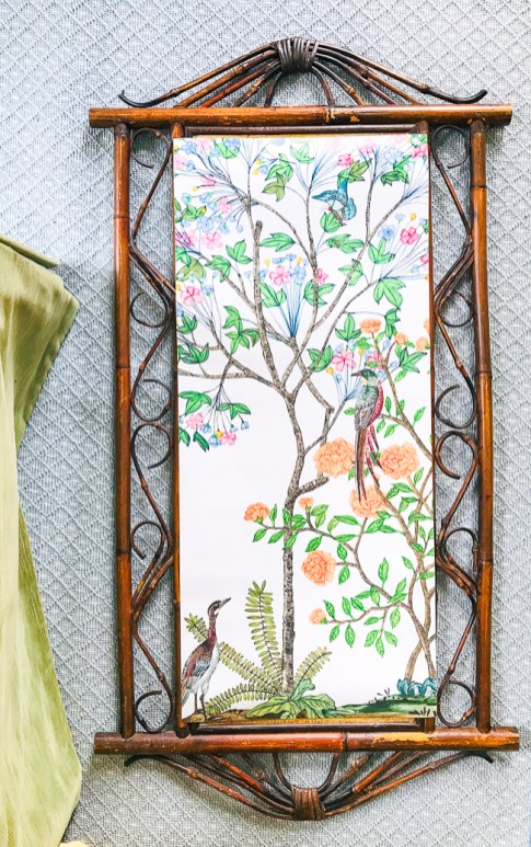 Flatten and arrange Chinoiserie paper on bamboo frame