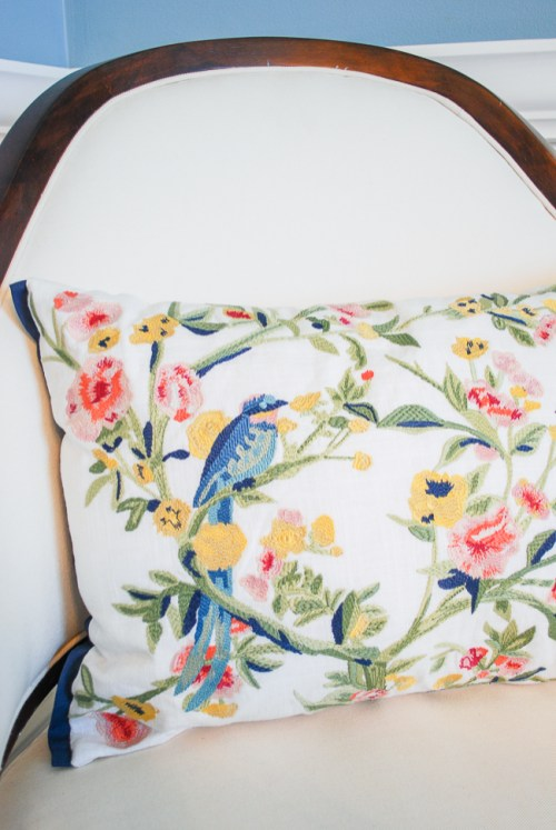Chinoiserie embroidered pillow