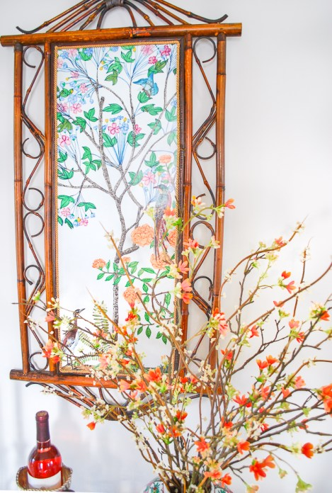 Chinoiserie mural mounted to vintage bamboo frame for a budget friendly dupe of Chinoiserie panels