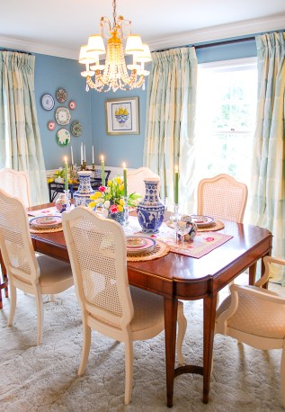 New traditional dining room reveal in interesting aqua