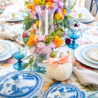 A Fall Table with Pastel Hues & Pretty Chintz