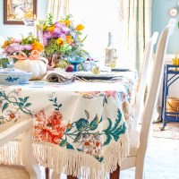 Sewing a Pretty Chintz Tablecloth with Bullion Fringe