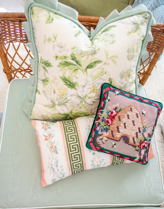 Grandmillennial pillow pile - chintz, needlepoint, and chinoiserie