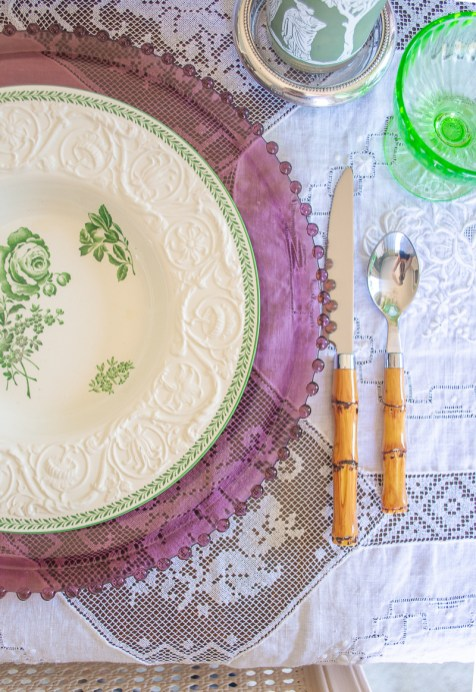 Faux bamboo flatware add a rustic touch to this springtime table