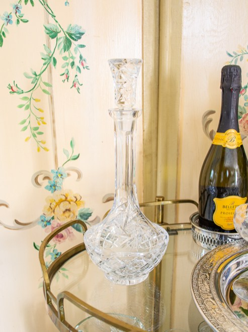 Elevate your bar cart decor with a gorgeous cut crystal decanter from Waterford