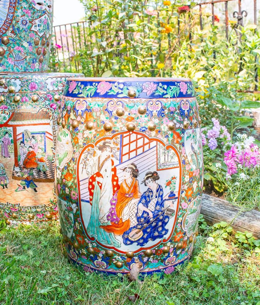 Geisha garden stool, vintage Chinese export ceramic stool