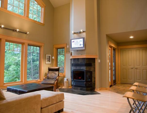 The great room has a beautiful wood burning fireplace