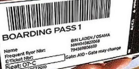 Splashy, Osama Bin Laden Boarding Pass at British Airways