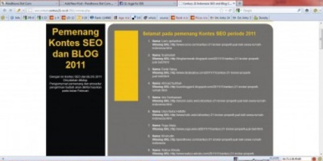 Pemenang Century 21 Indonesia SEO and Blog Contest