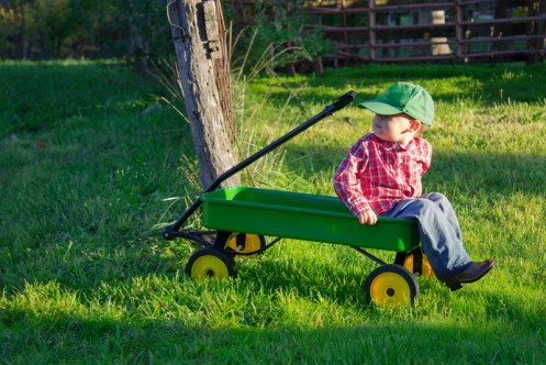 Little boy sitting in a green wagon looking over his shoulder.
