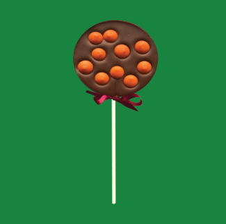 milk chocolate lolly with orange chocolate buttons