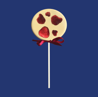 white chocolate lolly with strawberries