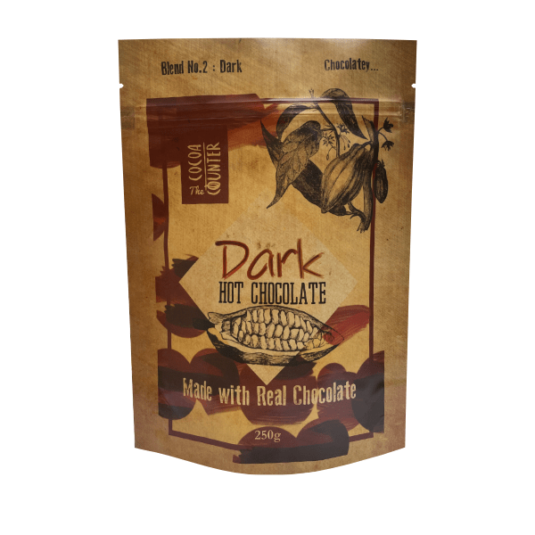 luxury dark hot chocolate flakes in retail bag