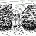 an outcrop with waterfall