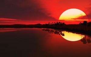 coucher-du-soleil-lac-et-palmiers