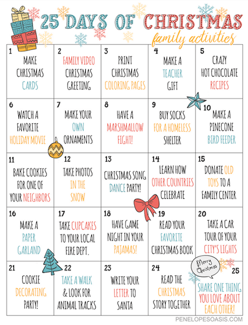25 Days Of Christmas Advent Activities Calendar Printable