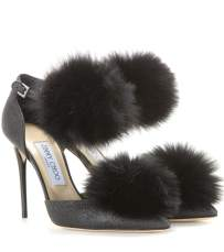 Dolly 100 Glitter and Fur-Trimmed Pumps $1,065