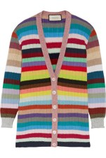 Gucci - Metallic Trimmed Striped Cashmere and Wool Blend Cardigan $,1,545