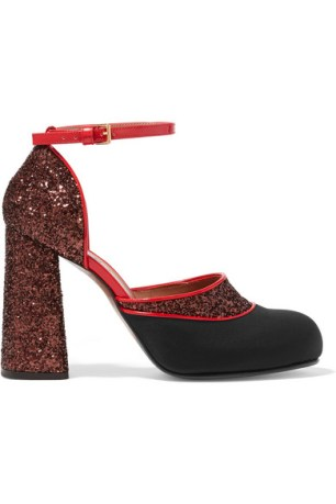 Marni - Glittered Twill and Patent-Leather Mary Jane Pumps $794