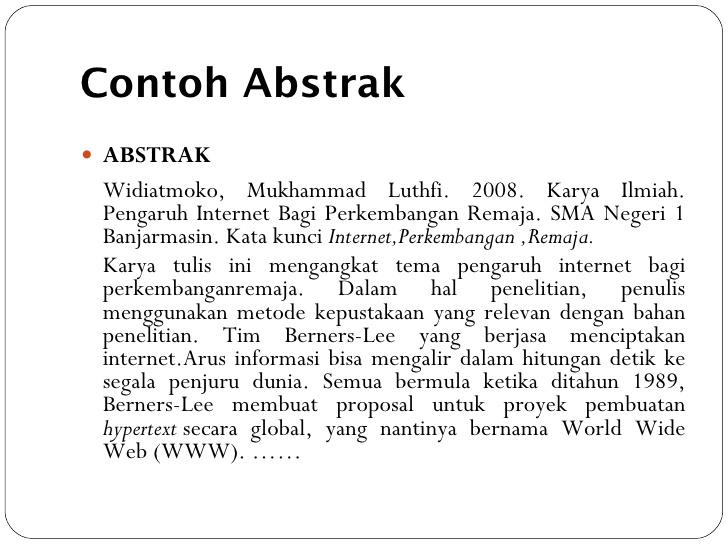 Contoh Karya Tulis Abstrak Ljmflnjl Info