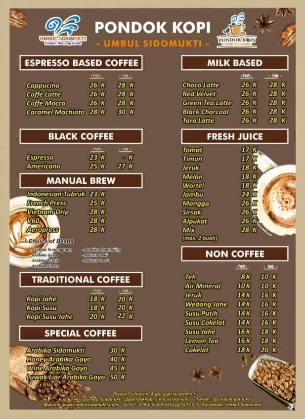 daftar menu minuman pondok kopi umbul sidomukti