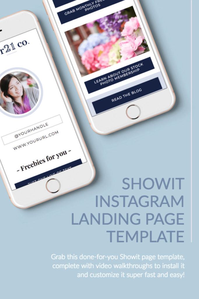 Grab this done-for-you Instagram landing page Showit template and bring more traffic to your website!
