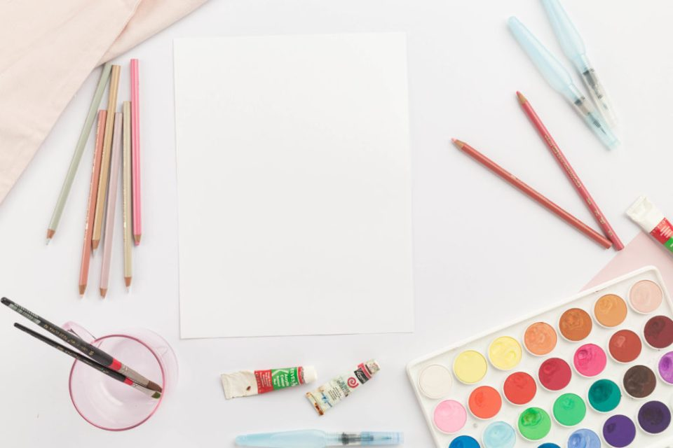 Paper, colors, watercolors for the new Color Joy membership design using Showit by Penguin Designing