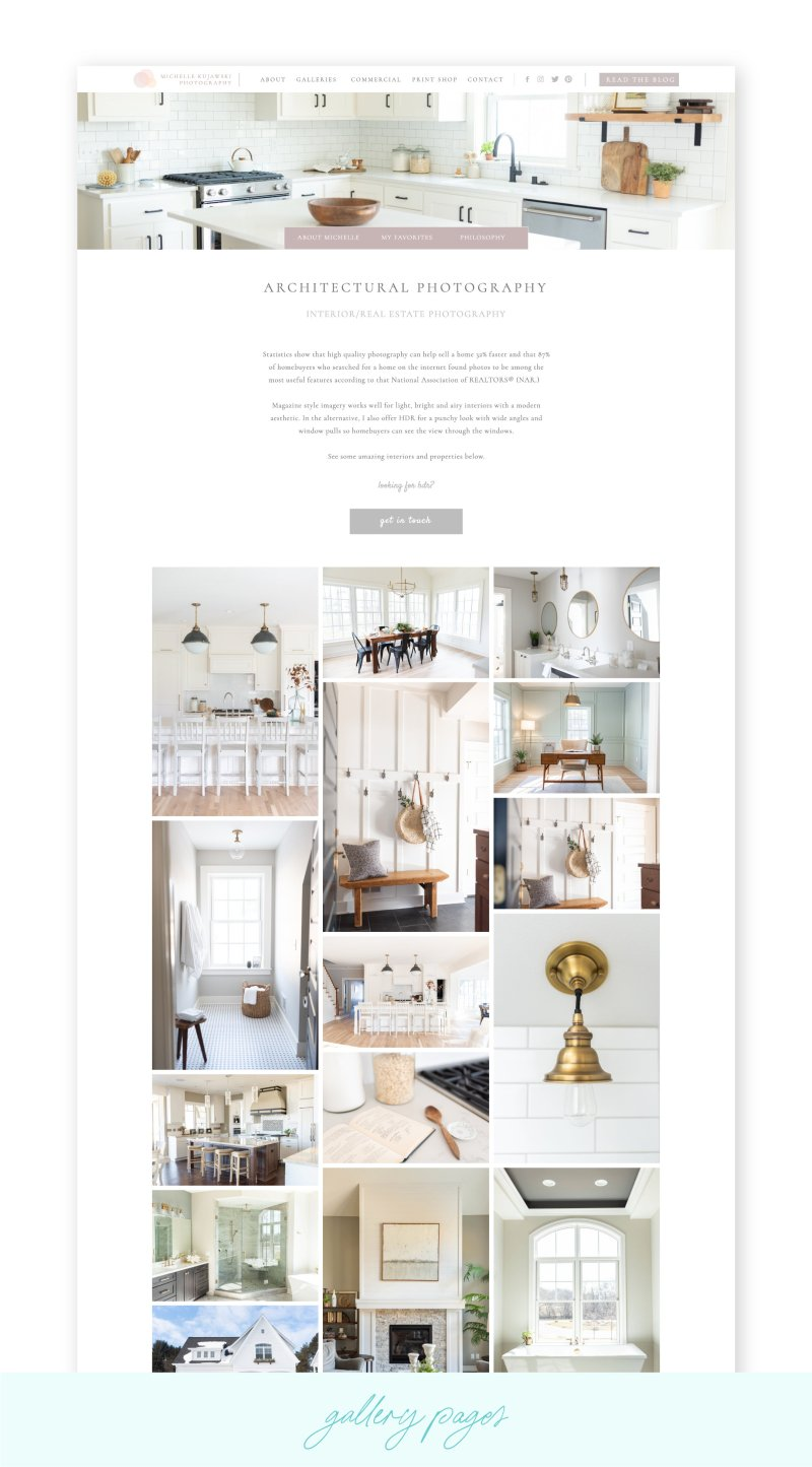 Light and airy editorial Showit website  gallery design