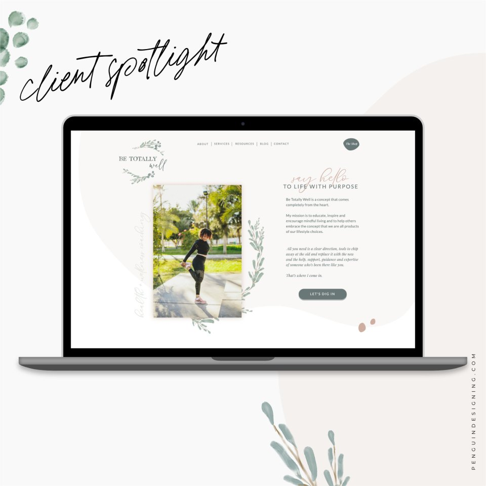 Showit website design by Penguin Designing for Be Totally well