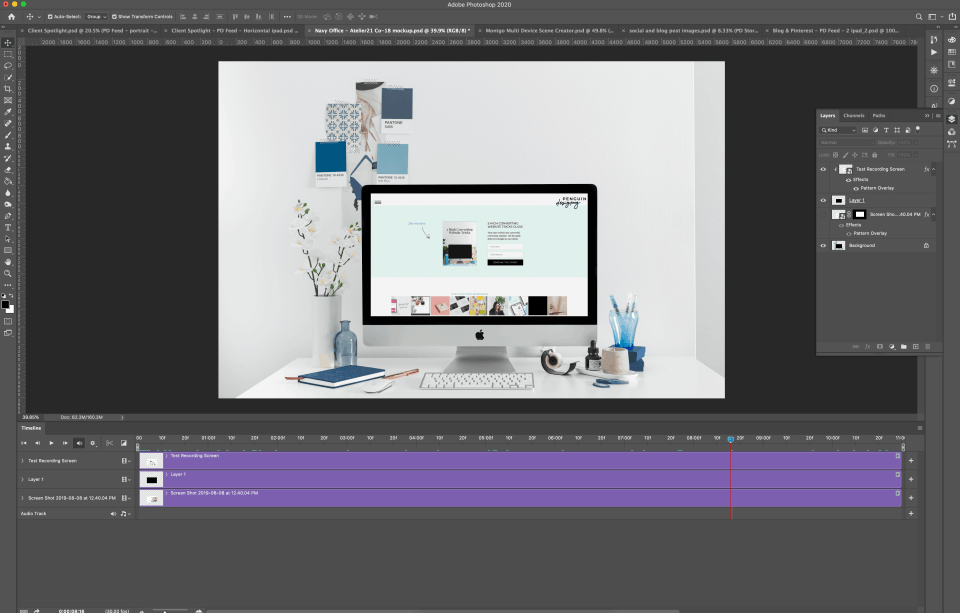 Photoshop screenshot showing the mockup with the timeline feature