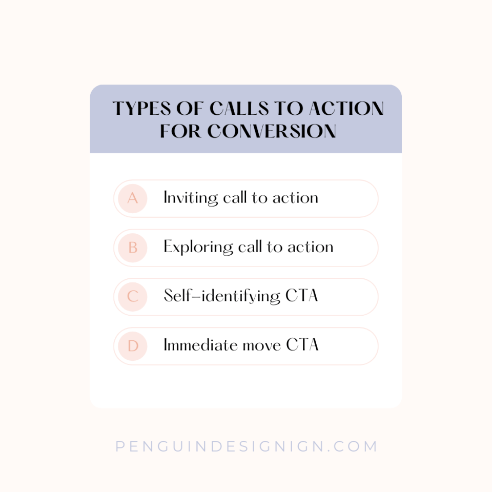 Types of calls to action for conversion graphic