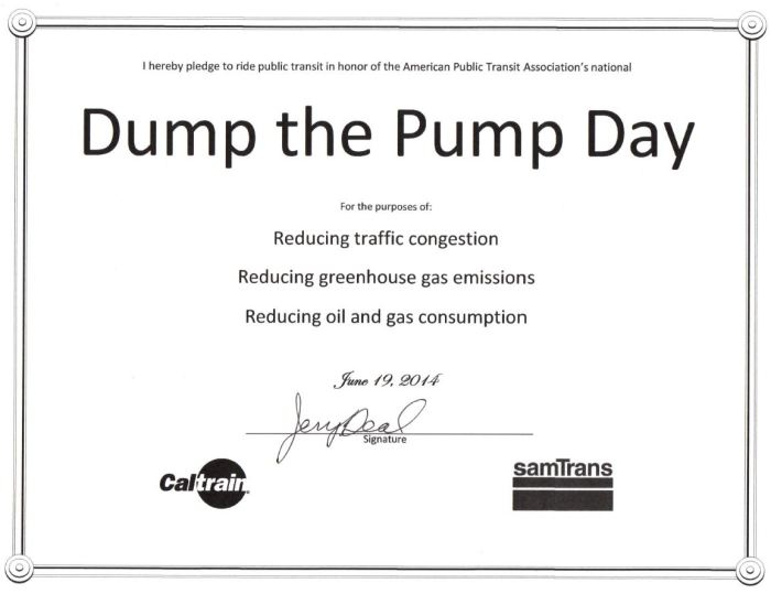 Burlingame City Council Member Jerry Deal signed his Dump the Pump pledge.