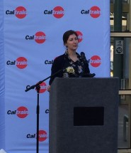 Caltrain BAC and SFBC member Catherine Young speaks at San Francisco Caltrain Station.
