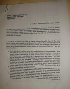 Esta es la denuncia que los petistas presentaron al la Coordinadora Nacional para pedir la destitución de Mercedes Maciel, comisionada en BCS.