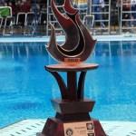 Trofeo de tercer lugar general por puntos que ganó la delegación de clavados de BCS en la pasada Olimpiada Nacional 2010.