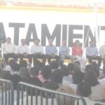 Autoridades federales, estatales y municipales encabezadas por el Presidente de México Felipe Calderón Hinojosa, en la ceremonia de inauguración de la planta de tratamiento La Sonoreña (Lupita Gómez)