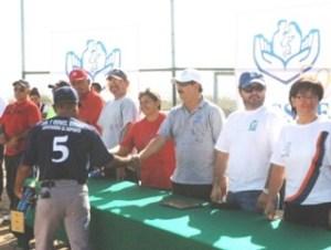 Acto protocolario de inauguración en la Liga Permanente de beisbol ISSSTE-IMSS.