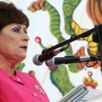 Rosa Delia Cota Montaño, vestida en rosa fucsia, se acercó al estrado e inició su último discurso, frente a caras largas, abucheos contenidos que escapaban continuamente y pancartas de reclamo, tanto por Balandra como por conservar el nombre del boulevard Sinaloa, es decir, por todo tipo de cosas.