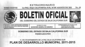 Quedó publicado el Plan de Desarrollo Municipal de La Paz en el Boletín Oficial Estatal