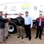 El Alcalde Antonio Agúndez, hizo entrega de cuatro camiones recolectores.