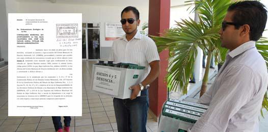 El Centro Mexicano de Derecho Ambiental (CEMDA) interpuso la denuncia entre las diez y media y las once de la mañana. Los abogados Mario Sánchez y Ómar Pérez entregaron en dos cajas repletas de gruesas carpetas el POEL a la Contraloría Municipal, en donde una secretaria recibió la denuncia.