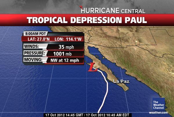 Huracán «Paul» se convierte en tormenta