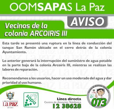 Interrumpirán suministro de agua en Arcoíris III