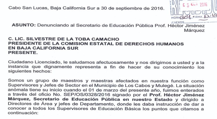 Denuncian a Jiménez Márquez ante la CEDH