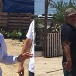 """La candidata a diputada por el Distrito IX del Partido del Trabajo (PT) Gabriela Montoya y José """"Caperuzo""""."""