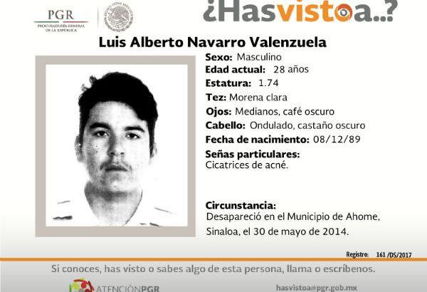 ¿Has visto a Luis Alberto Navarro Valenzuela?