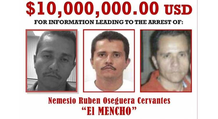 """Sube a 10 mdd recompensa por """"El Mencho"""""""