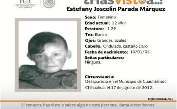 ¿Has visto a Estefany Joscelin Parada Márquez?