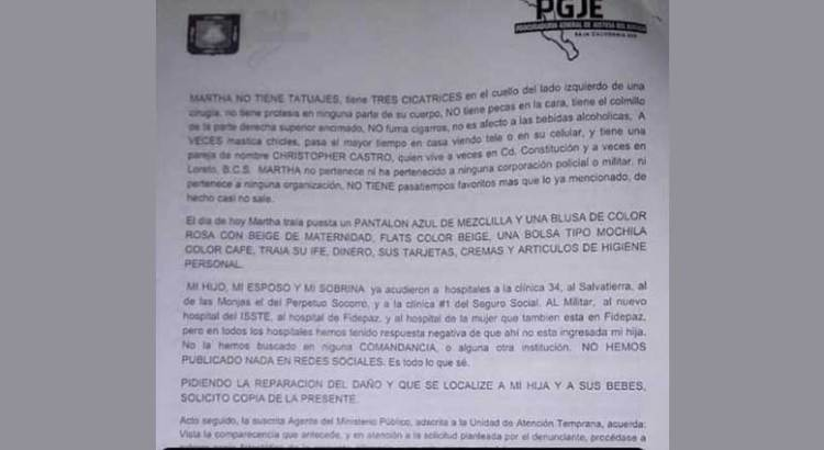 Buscan a joven embarazada desaparecida en La Paz